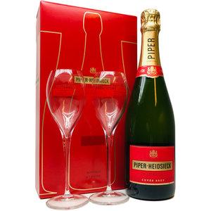 Piper-Heidsieck Cuvée Brut 75cl met twee Champagneflutes